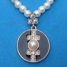 Black enamel & white pearl pendant necklace.