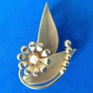 "Pin, gold tone & pearl - Art Deco stylized flower, 1 3/4"" x 1 1/4"" - lovely vintage piece."