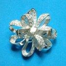 """ Roman "" silver tone rhinestone bow pin. New !! Vintage"