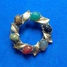 "Pin ""K.L."" gold fill semi precious stone scarabs & leaves circle . Vintage"