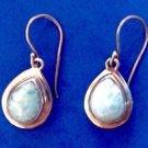 Sterling silver & turquoise blue stone dangling pierced earrings
