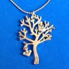 Pendant necklace silver tone tree with dangling bird & butterfly.
