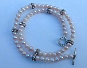 Sterling silver pink pearl & clear stone choker necklace.