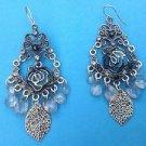 Dangle pierced earrings silver tone, rose, leaves & clear dangles.