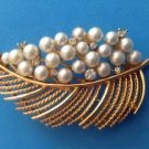 Vintage Lisner faux pearl & clear stone gold tone pin, leaf design.