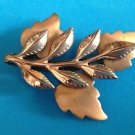Vintage Renoir copper leaves pin shiny & brushed.