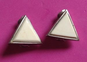 Sterling silver cream colored stone / plastic ? Clip on triangle shaped earrings.