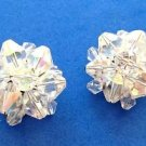 Vintage Aurora Borealis cut crystal cluster clip on earrings.
