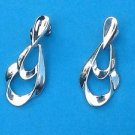Silver tone dangling door knocker pierced earrings