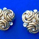 Large gold tone & clear rhinestone clip on earrings - statement piece !