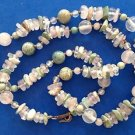 Natural stone lavender clear & blue green single strand necklace