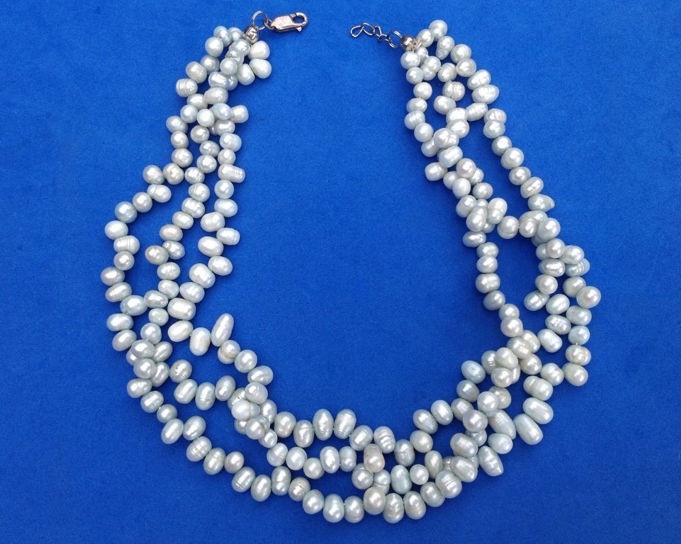 """3 strand pearl necklace sterling silver clasp. 17"""" of light blue green pearls"""
