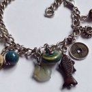 Sajen sterling silver charm bracelet / anklet. Silver & semi precious stones, cat, fish