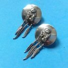 "Carol Felley sterling silver pierced earrings. Native Amer ""Story Teller"" design"
