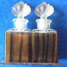 Pair of Art Deco lotus top perfume bottles in tortoise shell plastic box - antique