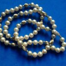 "VCream faux pearls necklace, gold filled clasp & beads - 26"" long."