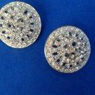 "Rhinestone clip on earrings - 1 1/4"" large & dazzling !"