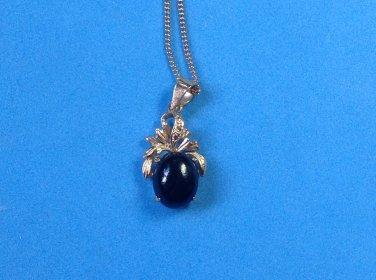 Pendant necklace gold & onyx black stone, vintage  - costume.