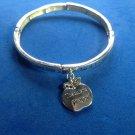 "Silver tone teacher bracelet 2.5"" diameter dangling apple ""Lord let me be a teacher...."""
