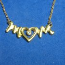 """""""Mom"""" pendant necklace. Gold tone, clear stone - 17"""". Very sweet."""
