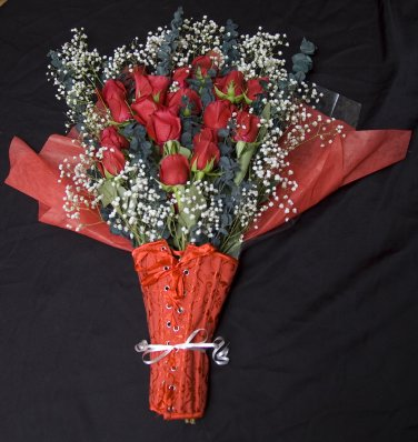 Red Corset Size 36 wrapped in Bouquet of Red Roses
