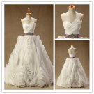 New Arrival Glamorous Full High Quality Organza Flower Sleeveless Ball Gown Wedding Dresses