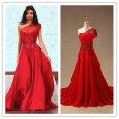 Red One Shoulder Chiffon Beading A Line Train Evening Dress