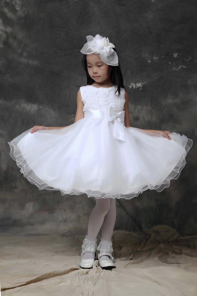 New Custom White/Ivory Flower Children Dresses Now-knot With Belt