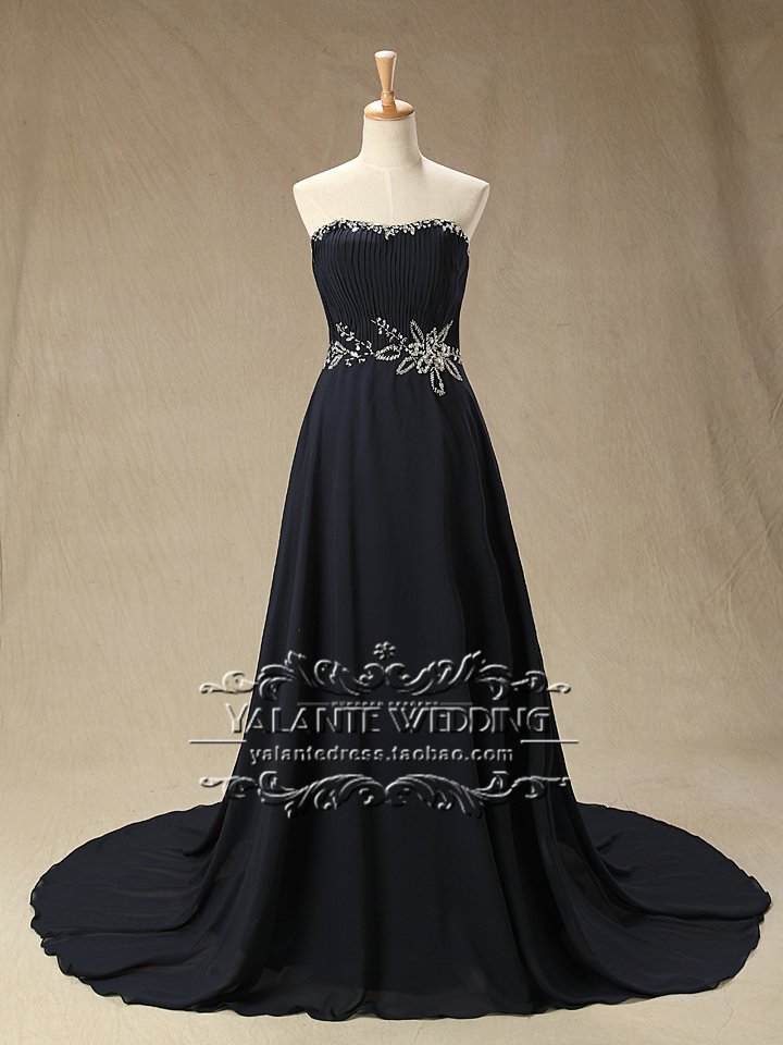 New Arrival Glamorous Full High Quality Chiffon Navy Blue Sleeveless Sweetheart Evening Dress