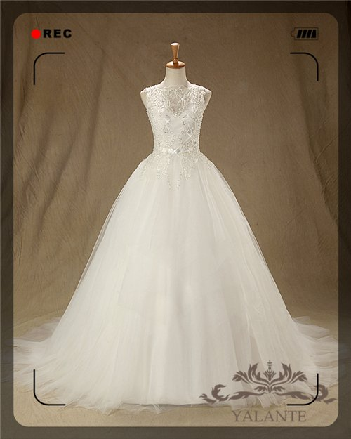 New Arrival Glamorous Full High Quality Beaded Embroidered Tull Sleeveless Ball Gown Wedding Dresses