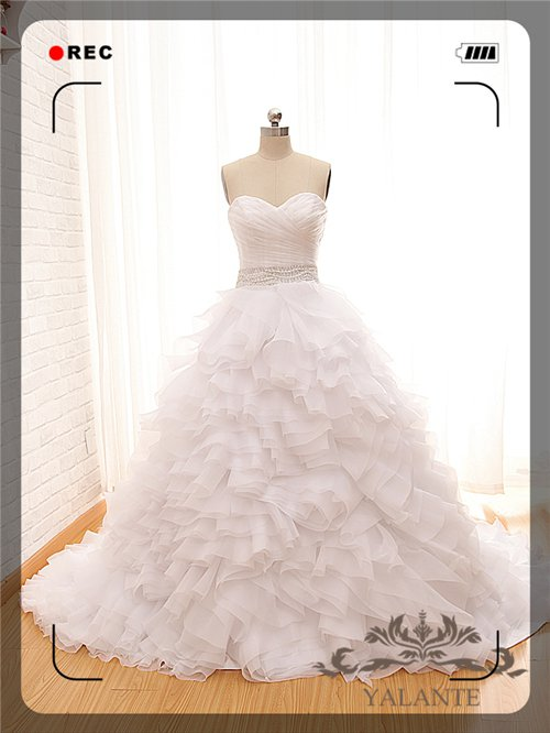 New Arrival Glamorous Full High Quality Organza Sleeveless Ball Gown Wedding Dresses