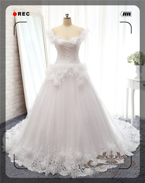2015 New Arrival Full High Quality Appliqued Cap Sleeves A-line Wedding Dresses Bridal Gown