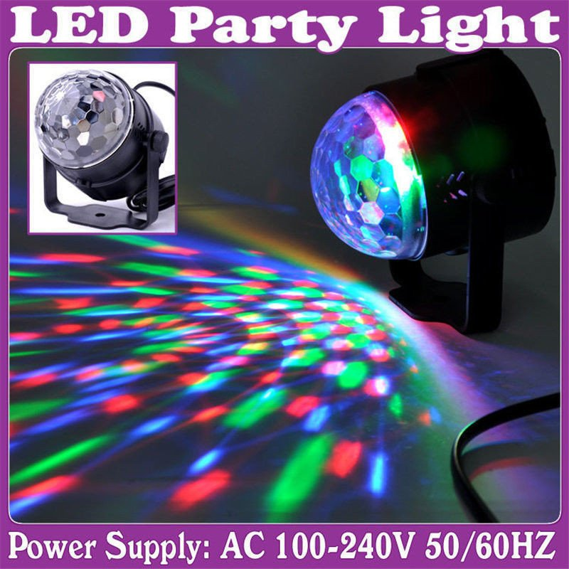 Mini Stage Lighting Effect 3W Full Color LED Crystal Voice-activated Rotating RGB Stage Light
