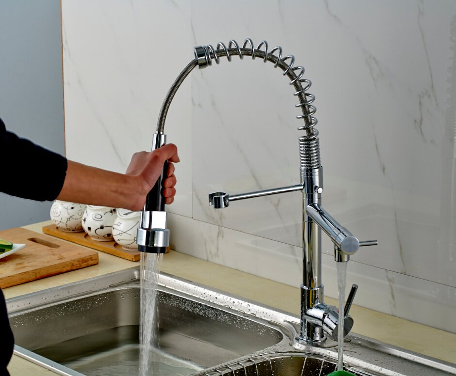 Kitchen Faucet Swivel Spout Pull Out Tap