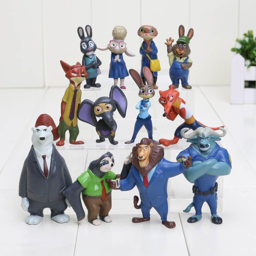 12pcs/lot 4-7cm new Movie Zootopia Cartoon Utopia Action Figure