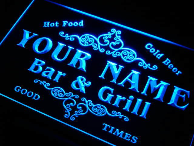 Name Personalized Custom Family Bar & Grill Beer Home Gift Neon Sign