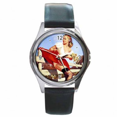 GIL ELVGREN SEXY PIN-UP STUCK ON FENCE Round Silver Metal Watch Leather Band