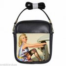 GIL ELVGREN SEXY PIN-UP WORKING ON CAR Leather Sling Bag Small Purse