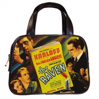 THE RAVEN Bela Lugosi Boris Karloff Poe Classic Black Leather Handbag Purse