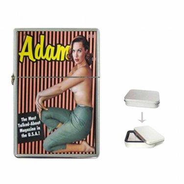 ADAM Men's Magazine Sexy Hot 1950's Nude Flip Top Lighter & Cigarette Case Combo
