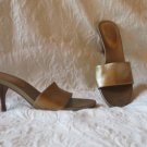 "Aerosoles Gold  Leather Sexy Mules Sandals Size 7.5m 3.75""  Heel"