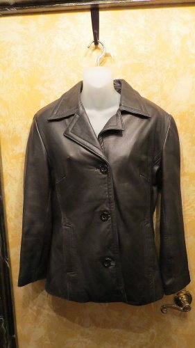 Danier Canada Exquisite Black Button Down Leather Blazer Jacket  Size XS
