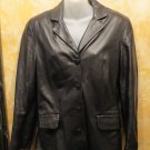 Chic Noi Firenze Italy  Black Leather Button Down Jacket  Blazer  Size 42 US 12