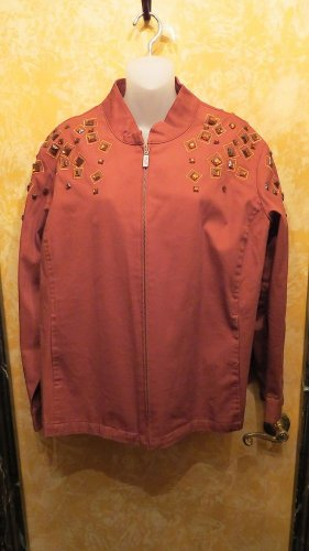 Bob Macke Brown Zipper Jacket W Brown Bling Crystals Size 1x