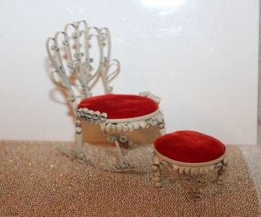 Vintage OaK ARtist Made 1950's Tin Can Mini Chair & Ottoman Furniture