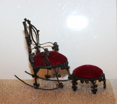 Vintage 1950's Tin Can Mini Chair and Ottoman Black Tin Red Velvet Furniture