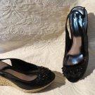 Super Cute Alfani Black and Espedrille Wedges Peek Toe Shoes Size 9.5