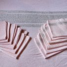 Vintage Pink  Exquisite Tablecloth + 12 Matching Napkins Woven W Silver Metallic