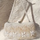 Beautiful Small Handmade Vintage Ivory Beaded Evening Bag Purse