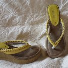 Super Cute Yellow Ruffle Mudd Wedge Flip Flop Sandals Size 8.5